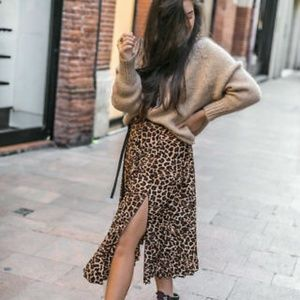 Zara side slit midi skirt